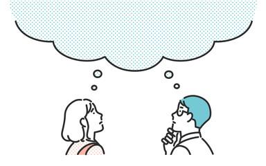 Obraz 考えごとをする共働きの夫婦のイメージイラスト素材 - fototapety do salonu