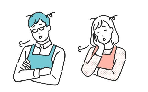 疲れた表情をしてため息をつく共働きの夫婦のイメージイラスト素材
