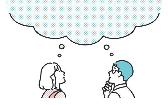 考えごとをする共働きの夫婦のイメージイラスト素材