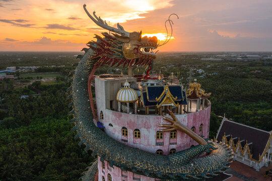 Aerial view Nakhon Pathom, Thailand, 11 August 2021: Wat Sampran, Wat Mangkon, Sampran District, Nakhon Pathom Province, near Bangkok, Thailand.