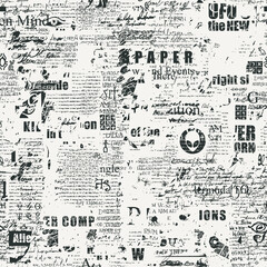Obraz Abstract seamless pattern with fragments of handwritten scribbles, typescript and newspaper headlines. Monochrome vector background, wallpaper, wrapping paper or fabric in grunge style - fototapety do salonu