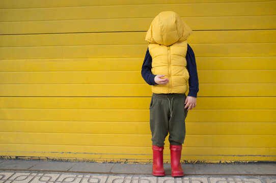 Little boy hides his face with his coat hood