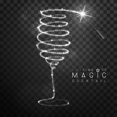Obraz Magic wand with silver glowing shiny trail. Champagne or wine glass silhouette isolated on black transparent background. Vector illustration - fototapety do salonu