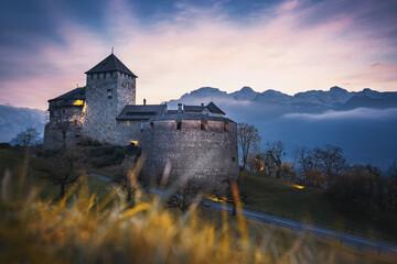 Obraz Vaduz Castle at sunset - Vaduz, Liechtenstein - fototapety do salonu