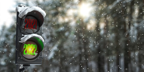 Obraz Happy new year 2022. Traffic light with green light 2022  and red 2021 on forest or park background. - fototapety do salonu