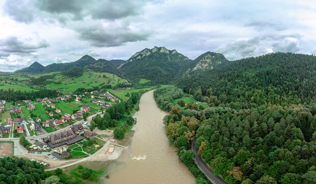 The Three Crowns Massif over The Dunajec River, mountain region north Slovakia