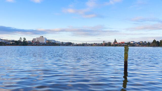 Lake Rotoroa in Hamilton, New Zealand at Dusk