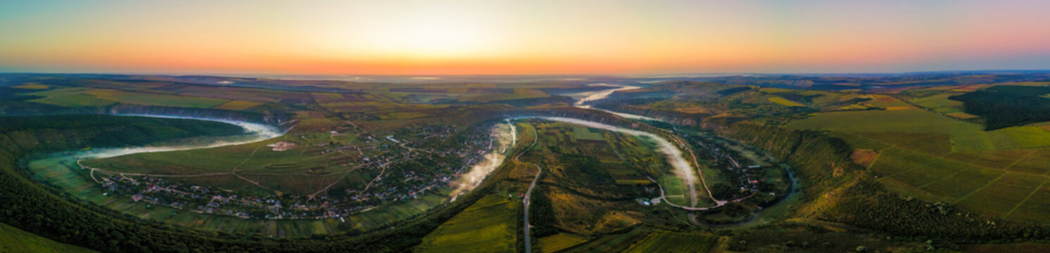 Aerial drone panoramic view of the Old Orhei at sunset