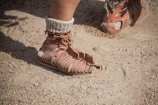 Roman legionary foot-soldier wearing caliga