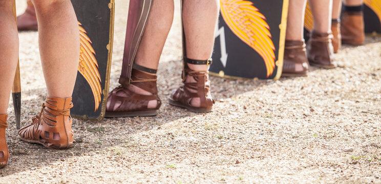 Roman legionary foot-soldier wearing caligae