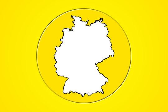 Umriss von Deutschland im gelben Kreis