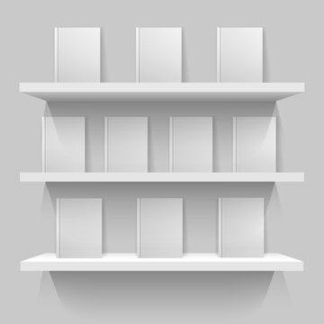 White mockup bookshelves