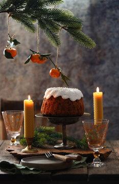 christmas dessert cake with festive decorations