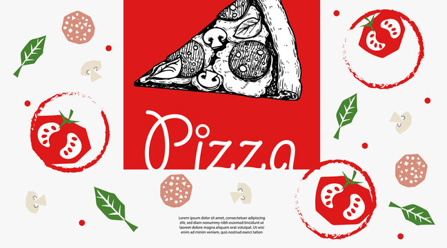 Italian pizza design template. Pepperoni pizza slice in hand drawn sketch style and pizza ingredients in flat modern style. Best for flyers, menu designs, , banners, packages and other.