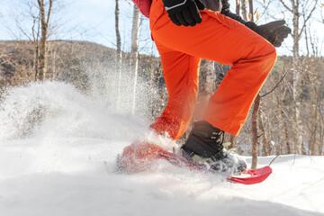 Obraz Snowshoes walking in snow. Closeup of legs of man athlete running in white deep powder snow snowshoeing wearing snowshoe boot. - fototapety do salonu