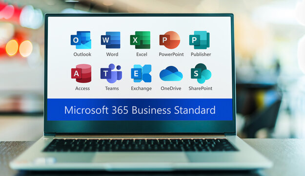 Laptop displaying logos of Microsoft 365 Business Standard