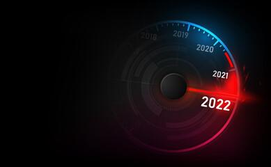 Obraz New year 2022 car speedometer, red indicator on black blur background - fototapety do salonu