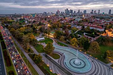 Fototapeta Panorama of the city of Warsaw, Poland. obraz