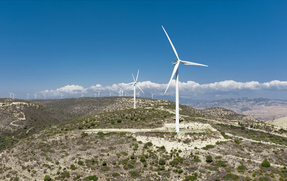 Wind turbines on top of the hills. Oreites wind farm in Paphos district, Cyprus