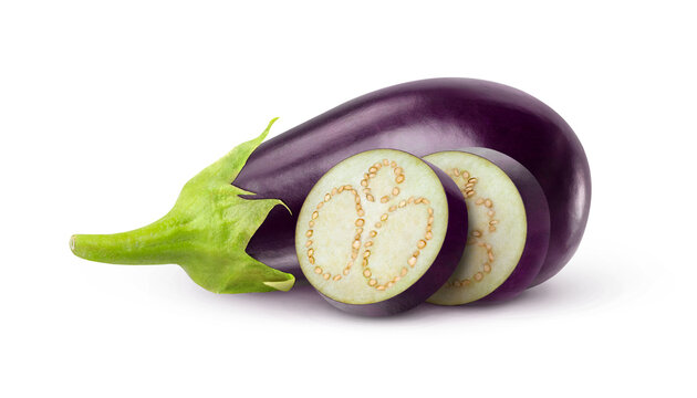 Isolated eggplants. One raw black aubergine and two slices isolated on white background