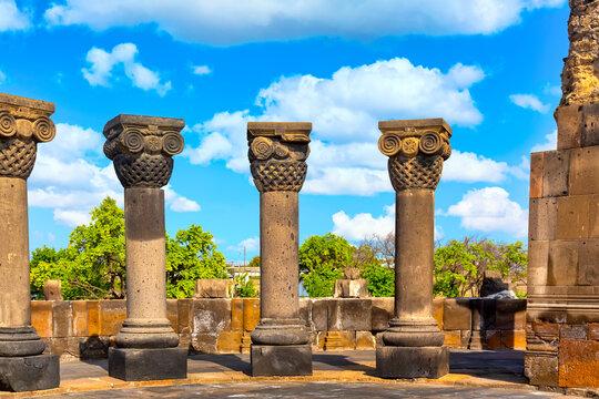 Famous landmark in Armenia. The ruins of the ancient medieval temple of Zvartnots, Armenia