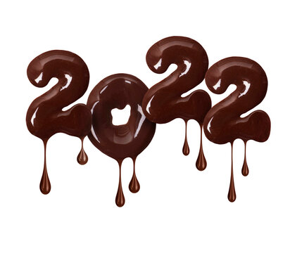 Number 2022 is made of melted chocolate isolated on white background