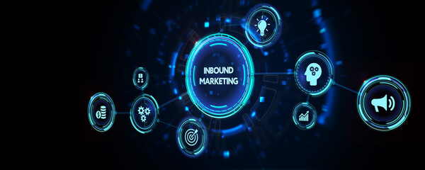 The concept of business, technology, the Internet and the network. Virtual screen of the future and sees the inscription: Inbound marketing. 3d illustration