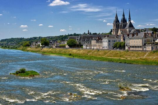 Edge of the Loire at Blois, a commune and the capital city of Loir-et-Cher department in Centre-Val de Loire, France