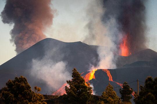 """""""La Palma"""" volcano eruption, in La Palma island (Canary Islands, Spain) - october 16, 2021."""