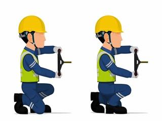 Obraz set of worker is holding hand wheel on white background - fototapety do salonu