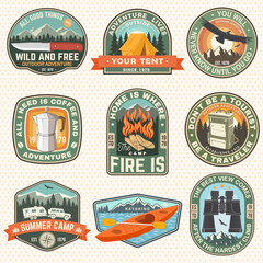 Obraz Set of Summer camp patches. Vector illustration. Concept for shirt or logo, print, stamp, badges or tee. Design with condor, kayak, camping tent, binoculars, campfire, mountains and forest silhouette. - fototapety do salonu
