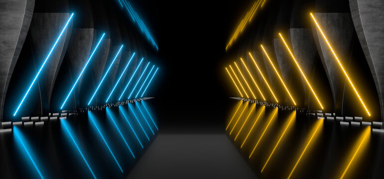 Sci Fy neon lamps in a dark corridor. Reflections on the floor and walls. 3d rendering image.
