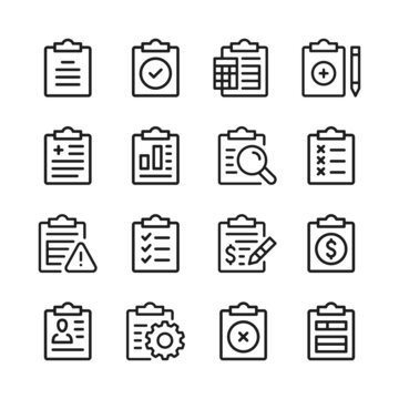 Clipboard line icons set. Modern graphic design concepts, simple outline elements collection. Vector line icons