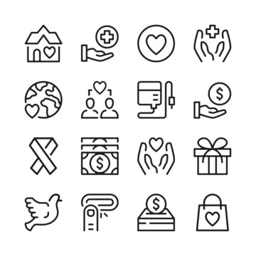 Charity line icons set. Modern graphic design concepts, simple outline elements collection. Vector line icons