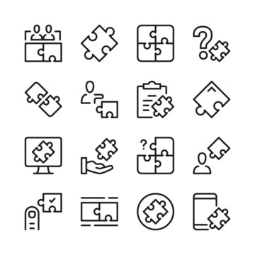 Puzzle line icons set. Modern graphic design concepts, simple outline elements collection. Vector line icons