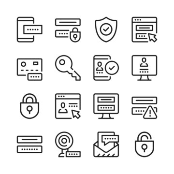 Password line icons set. Modern graphic design concepts, simple outline elements collection. Vector line icons