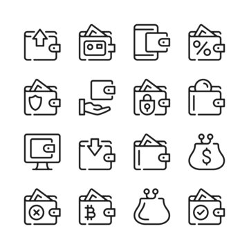 Wallet line icons set. Modern graphic design concepts, simple outline elements collection. Vector line icons