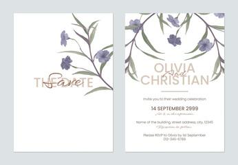 Obraz Minimalist floral wedding invitation card template, ruellia tuberosa flowers and leaves on white - fototapety do salonu