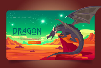 Obraz Dragon cartoon landing page. Magic powerful character sitting on rock at deserted alien planet landscape with red mountains and green sky. Fantasy creature, fairytale game or book, Vector web banner - fototapety do salonu