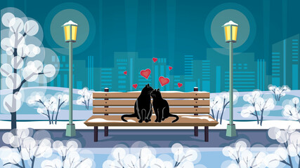 Obraz Valentine's day greeting card, night city park and cats in love on the bench, space for text, romantic scene, vector illustration. - fototapety do salonu