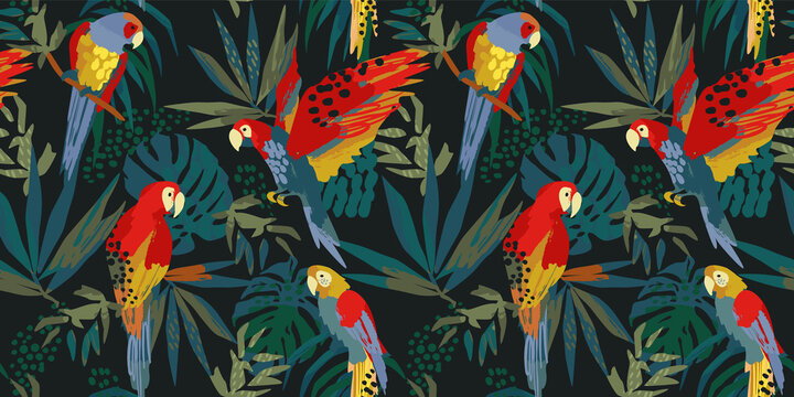 Abstract art seamless pattern with parrots and tropical leaves. Modern exotic design for paper, cover, fabric, interior decor and other