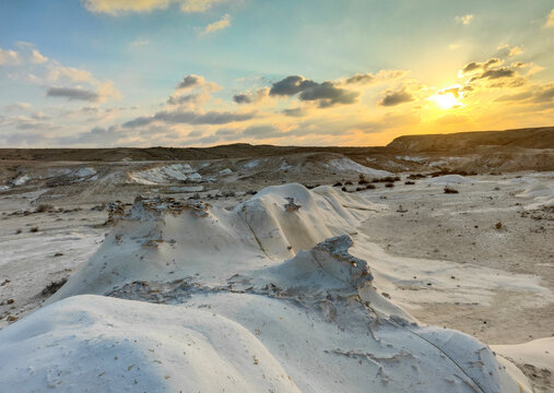 Amazing sunset at Nizzana Hillocks or Nitzana chalk hills. Negev desert in Israel