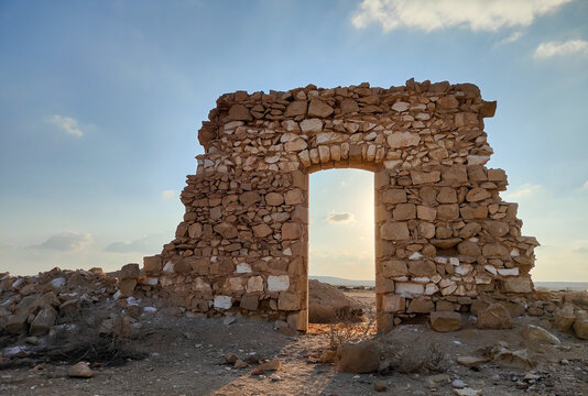 Ruins of the Ottoman railway station. Sunset time. Negev desert in Israel