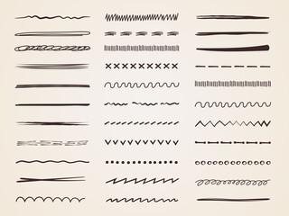Fototapeta Sketch scribbles. Doodle pencil hand drawn lines chalk curves stylized dividers recent vector sketch illustrations obraz
