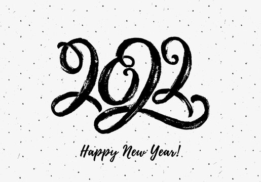 New Year greeting card with hand drawn lettering 2022.