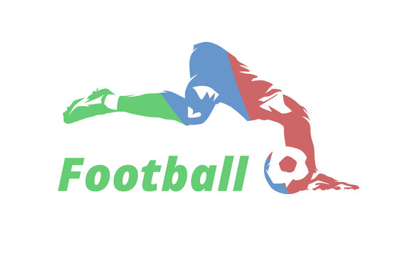 Football, soccer player kicking ball. Football theme, isolated vector silhouette