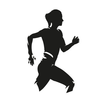 Running woman, side view, isolated vector silhouette. Run