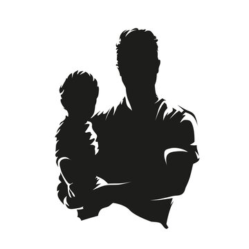 Man holding a child in his arms, fron view. Abstract isolated vector silhouette. Young parent with child