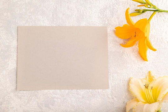 Gray paper business card mockup with orange day-lily flower on gray concrete background. top view, copy space.