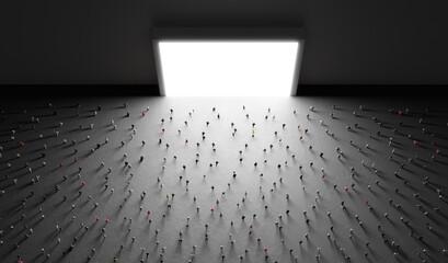 Obraz People watch big white screen, display. - fototapety do salonu